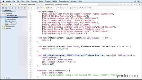 Loading a property list into a table view: iOS 8 App Development with Swift 1 Essential Training