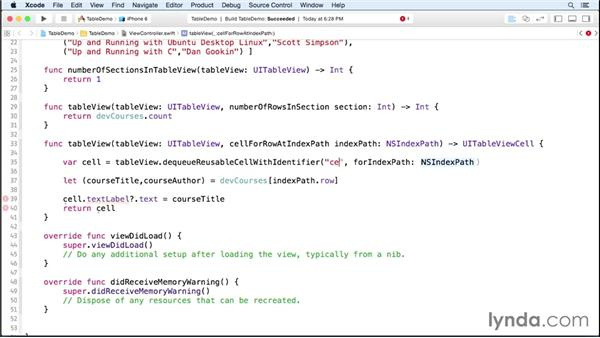 Reusing table view cells: iOS 8 App Development with Swift 1 Essential Training