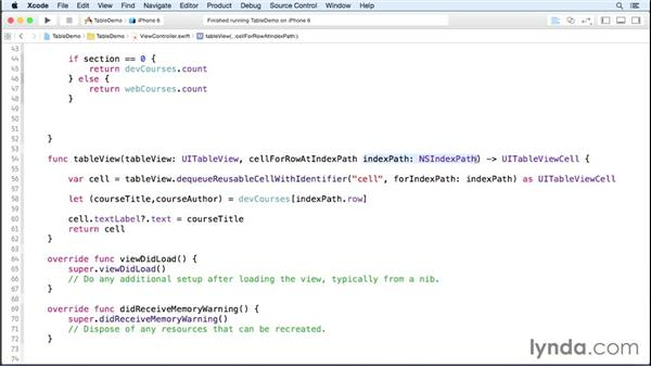 Customizing table views: iOS 8 App Development with Swift 1 Essential Training