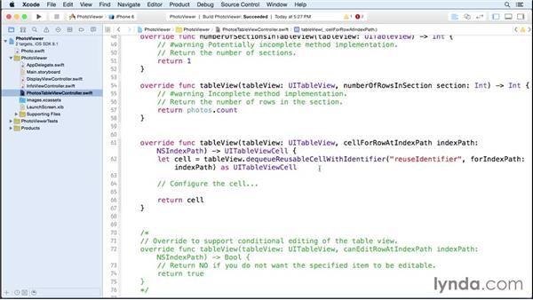 Step four: Loading the data: iOS 8 App Development with Swift 1 Essential Training