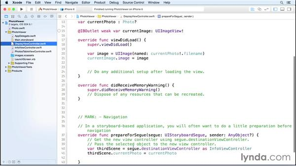 Step five: Passing objects between scenes: iOS 8 App Development with Swift 1 Essential Training