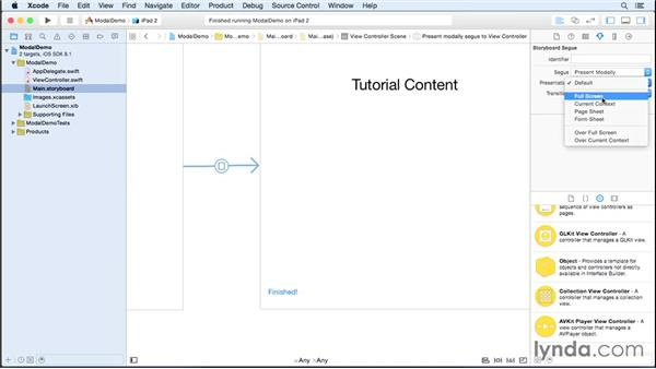 Adding modal view controllers: iOS 8 App Development with Swift 1 Essential Training