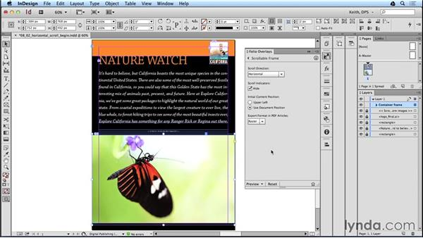 Creating an image gallery with a scrollable frame: Adobe Digital Publishing Suite Interactive Techniques