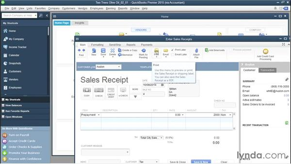 Recording customer prepayments with sales receipts: QuickBooks Advanced Bookkeeping Techniques