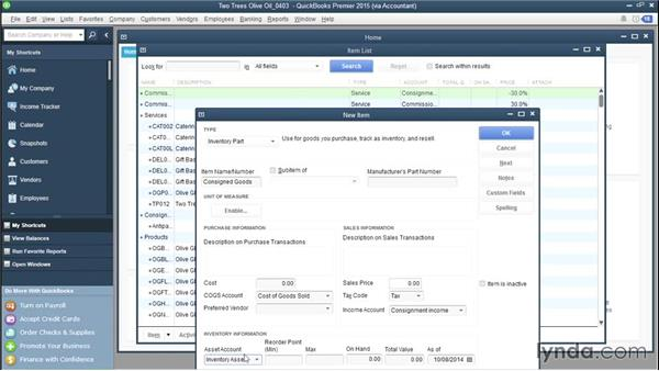Setting up QuickBooks to track what you consign to others: QuickBooks Advanced Bookkeeping Techniques