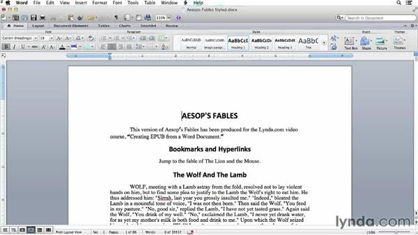 Adding bookmarks: Creating EPUBs from a Word Document