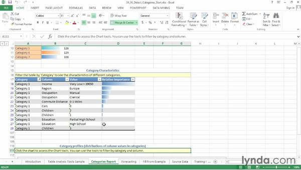 Detecting categories: Excel Data-Mining Fundamentals