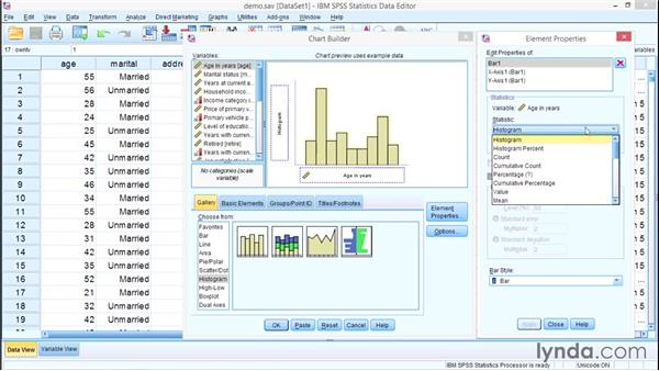 Building charts with the Chart Builder: SPSS Statistics Essential Training