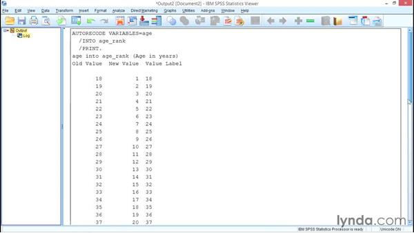 Recoding with Automatic Recode: SPSS Statistics Essential Training