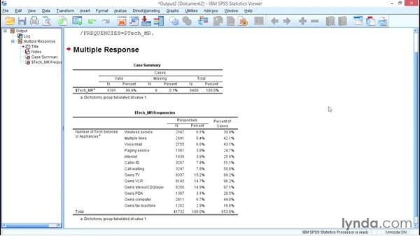 Working with multiple responses: SPSS Statistics Essential Training