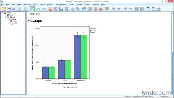 Clustered bar charts for means: SPSS Statistics Essential Training