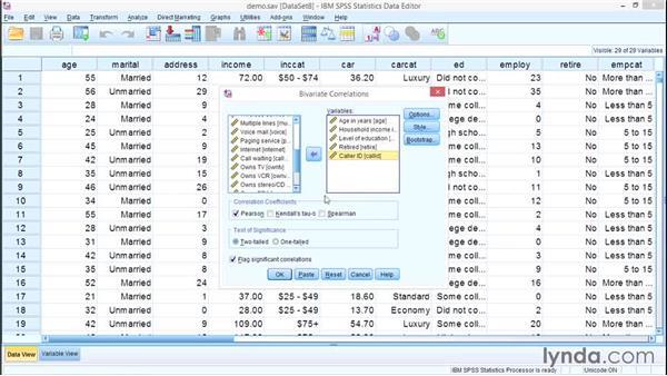 Correlation: SPSS Statistics Essential Training