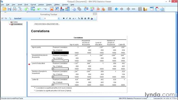 Modifying pivot table results: SPSS Statistics Essential Training