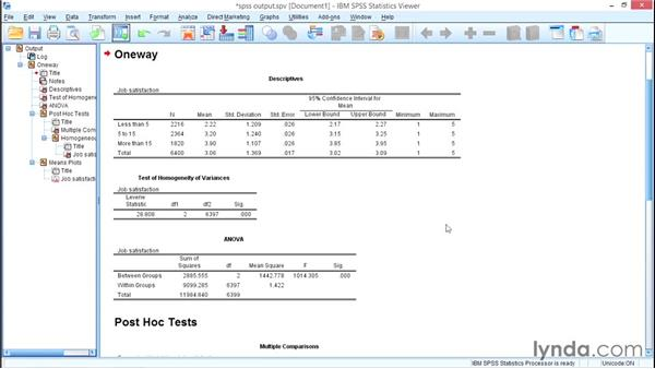 Comparing two or more means: One-Way ANOVA: SPSS Statistics Essential Training