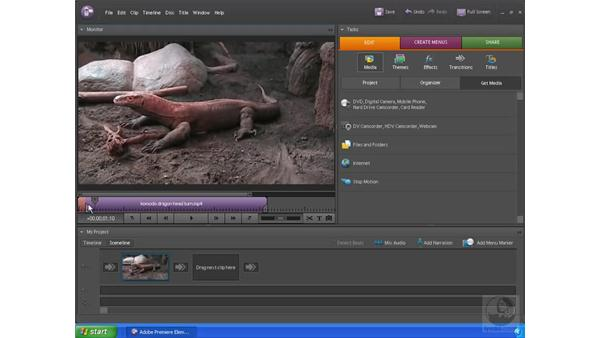 Trimming video in the Sceneline: Premiere Elements 4 Essential Training