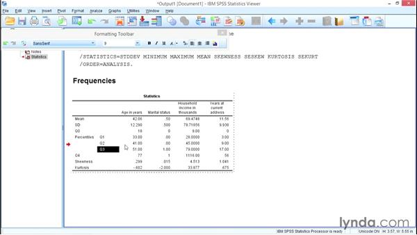 Formatting tables for presentation and publication: SPSS Statistics Essential Training