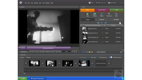 Rearranging the order of clips: Premiere Elements 4 Essential Training