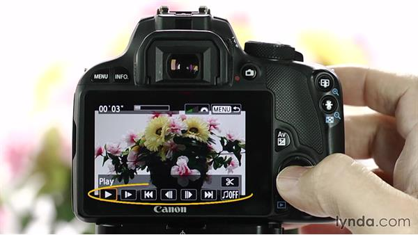 Playing back video: Up and Running with the Canon Rebel SL1 (100D and Kiss X7)