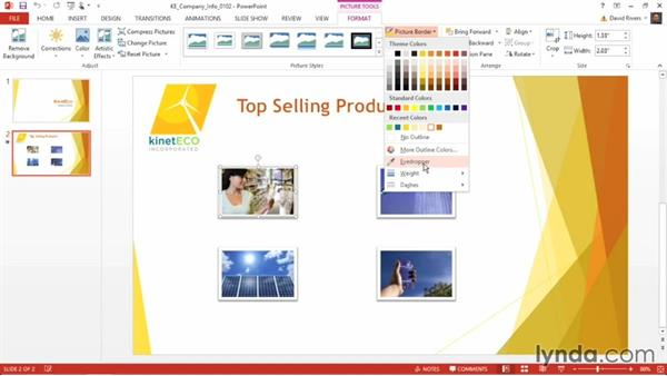 Matching colors with the Eyedropper tool: PowerPoint 2013 Power Shortcuts