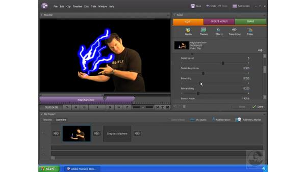 Making lightning shoot from your hand: Premiere Elements 4 Essential Training