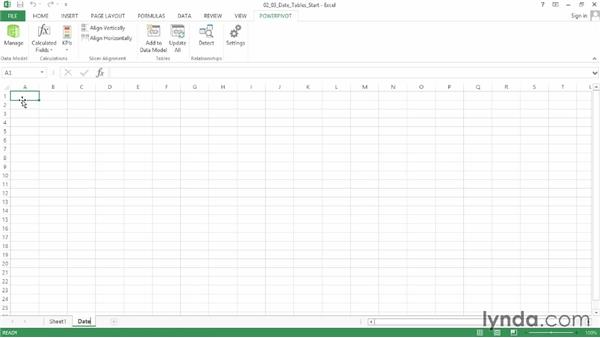 Working with date tables: Data Modeling with Excel Power Pivot
