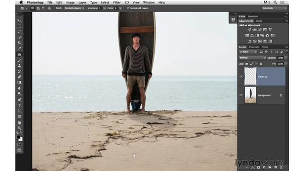 Cleaning up with the Patch tool: Portrait Project: Fixing a Distracting Background