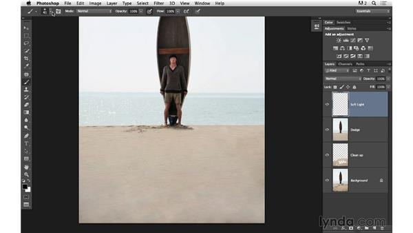 Dodging away shadows on the sand: Portrait Project: Fixing a Distracting Background