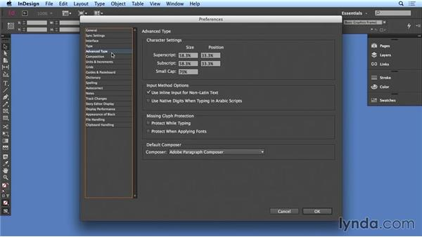 Setting up preferences: Creating Long Documents with InDesign CC