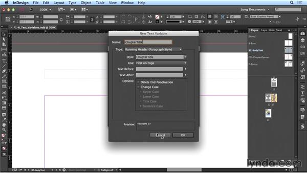 Using text variables: Creating Long Documents with InDesign CC
