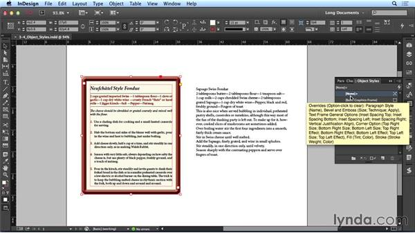 Using object styles: Creating Long Documents with InDesign CC