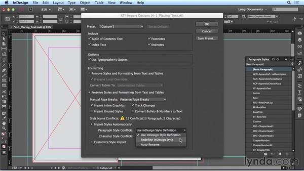 Placing text: Creating Long Documents with InDesign CC