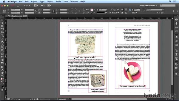 Creating metadata captions: Creating Long Documents with InDesign CC