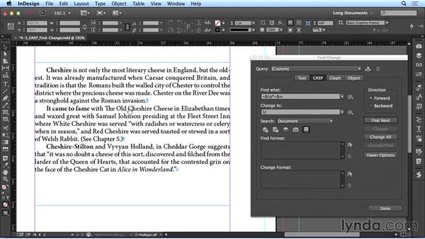 Using GREP with Find/Change: Creating Long Documents with InDesign CC