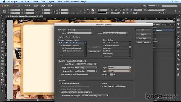 Creating tables of contents (TOCs): Creating Long Documents with InDesign CC