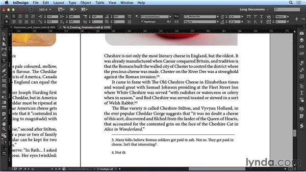 Creating footnotes: Creating Long Documents with InDesign CC