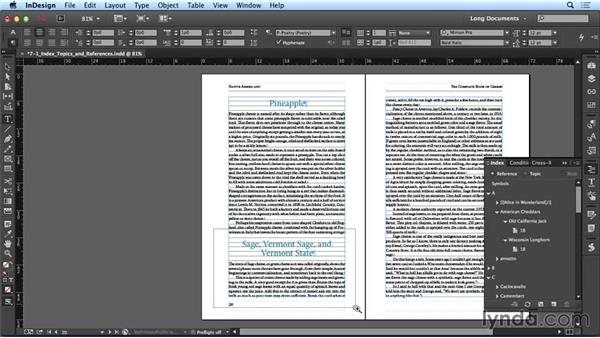 Creating index topics and references: Creating Long Documents with InDesign CC