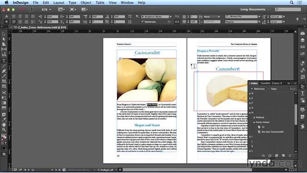 Creating index cross-references: Creating Long Documents with InDesign CC