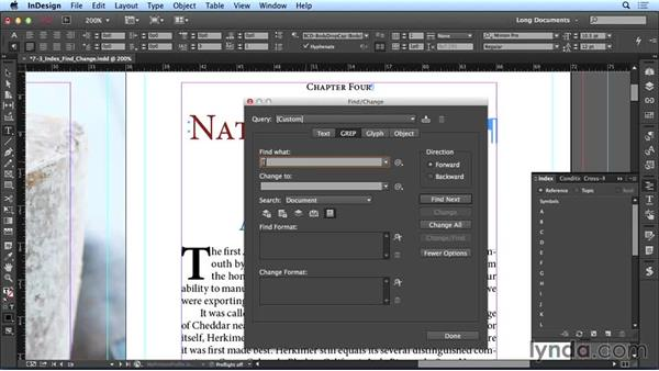 Creating index references with Find/Change: Creating Long Documents with InDesign CC