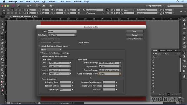 Generating an index: Creating Long Documents with InDesign CC