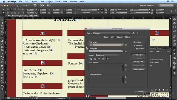 Preserving formatting in an index: Creating Long Documents with InDesign CC
