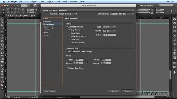 Exporting to print PDF: Creating Long Documents with InDesign CC