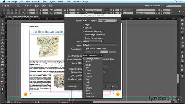 Exporting to interactive PDF: Creating Long Documents with InDesign CC