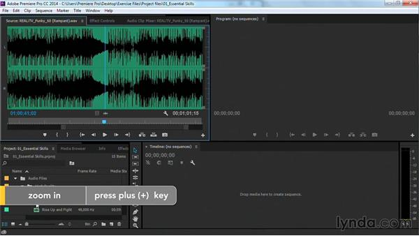Viewing and reading a waveform: Premiere Pro Guru: Cutting with Music