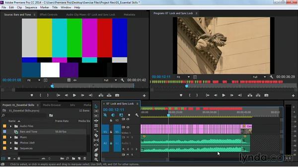 Locking and sync-locking audio: Premiere Pro Guru: Cutting with Music