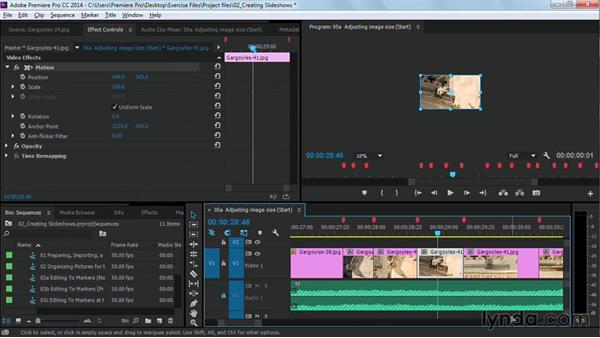 Adjusting the size of images: Premiere Pro Guru: Cutting with Music