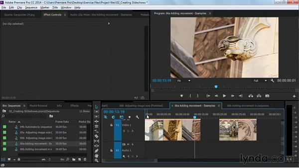 Adding movement to images, with keyframes: Premiere Pro Guru: Cutting with Music