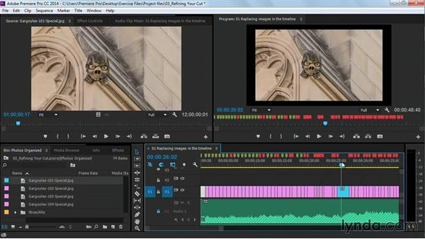 Replacing images in the Timeline: Premiere Pro Guru: Cutting with Music