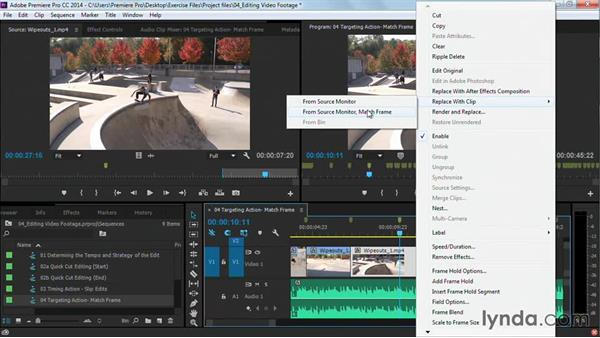 Targeting action: Match frame: Premiere Pro Guru: Cutting with Music