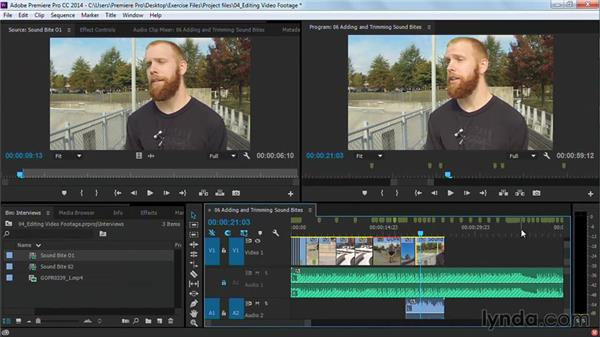 Adding and trimming sound bites: Premiere Pro Guru: Cutting with Music