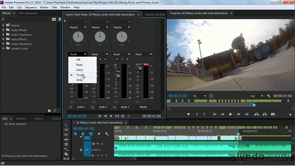 Mixing levels with track automation: Premiere Pro Guru: Cutting with Music